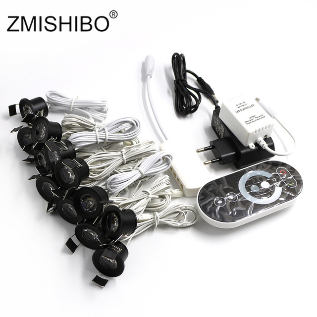 ZMISHIBO 12V Mini LED Black Cabinet Lights Dimmable Lamp Set Remote Control 1.5W 27mm Cut Hole Ceiling Recessed Spot Downlights