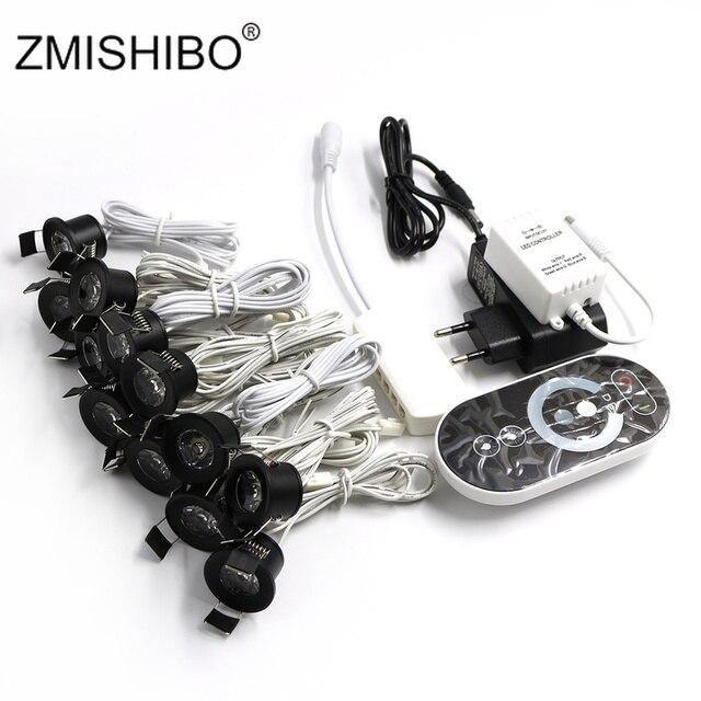 Zmishibo 12 v 미니 led 블랙 캐비닛 조명 dimmable 램프 세트 원격 제어 1.5 w 27mm 컷 홀 천장 recessed 스포트 downlights