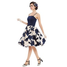 Sisjuly women vintage dress summer blue rose print bow 1950s sleeveless sexy pin up rockabilly female vintage dresses new 2017