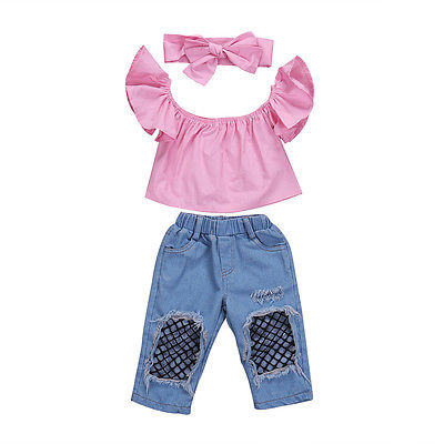 3Pcs Kids Baby Girls Toddler Off Shoulder Short Fly Sleeve Tops Denim Hole Mesh Pants Bow Headband Outfits Set Clothes 2018 New