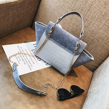 Chain Vintage Patchwork Crocodile+Nubuck Leather Bags Handbags Women Famous Brand Trapeze Handbag Women Crossbody Messenger Bag