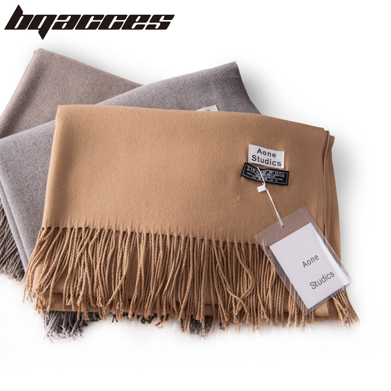 [BQACCES] Winter Thick Warm Cashmere Scarves Women Men Solid Color Plain Wool Scarf With Tassel Shawl Wrap Brand High Quality
