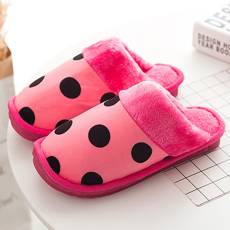 Women Home Slippers Winter Flock Polka Dot Short Plush Warm Fur Slides For Girls Walking Rubber Zapatillas Mujer in Slippers from Shoes