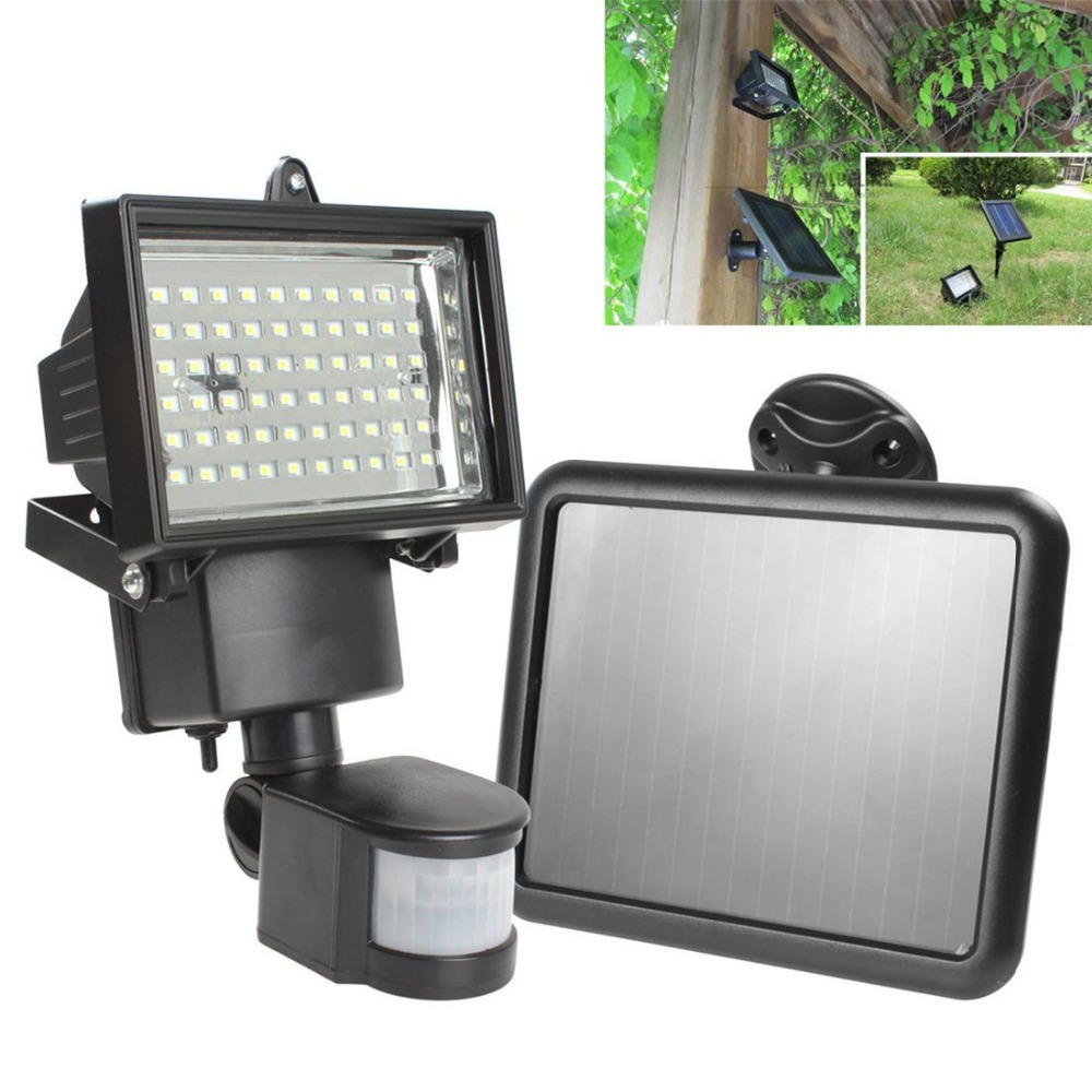 Solar panel led flood security garden light pir motion sensor 60 hot sale solar panel led flood security solar garden light pir motion sensor 60 leds path aloadofball Image collections