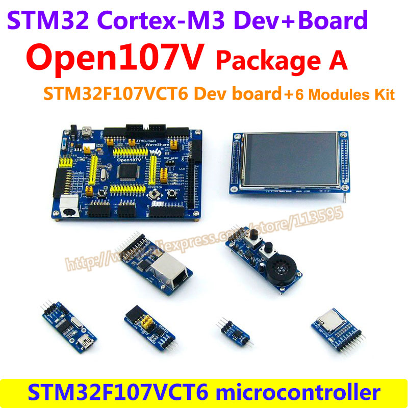 STM32 Board STM32F107VCT6 STM32F107 ARM Cortex-M3 STM32 Development Board(72MHz)+6 Accessory Module Kit =Open107V Package A fireduino pc combine stem education scratch graphic program iot development board pcduino wifi module arm cortex m3 demo