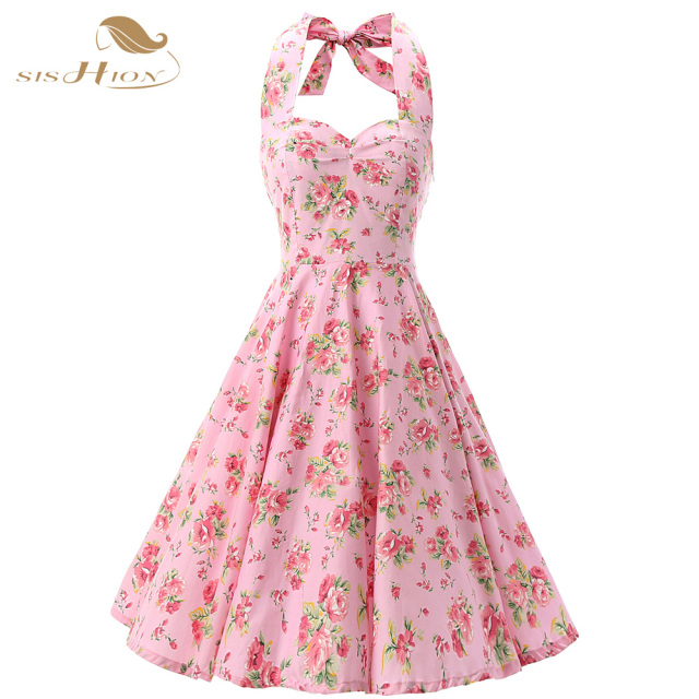 cb49143d3bcfd Pink Women Dress Rockabilly Floral Print Retro Vintage 60s Sexy Party Dress  Pinup Swing Hepburn Summer Dress Plus Size VD0240