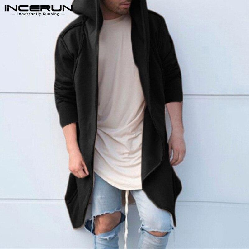 Hiphop Men Cardigan Sweatshirts Hoodies Long Sleeve Fashion Mantle Hoody Long Irregular Hem Loose Fit Hoody Autumn Hombre Black