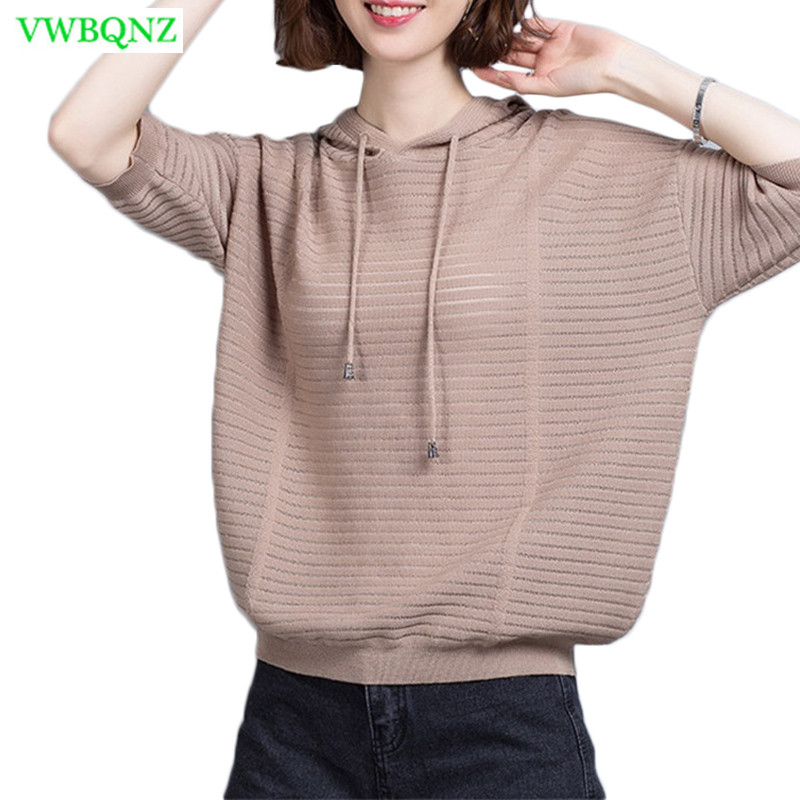 Women Hooded Sweater Summer Ice silk Half sleeve knitting Bottoming shirt Women's Loose Bat sleeve Plus size Tops Sweaters A450