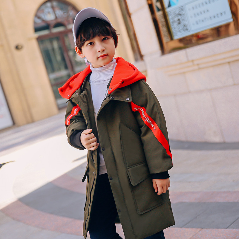 XYF8803 Winter 100 White Duck Down Coat Child Solid color Keep Warm Jacket Thick Hooded Girls Long Outerwear Boys Windbreaker