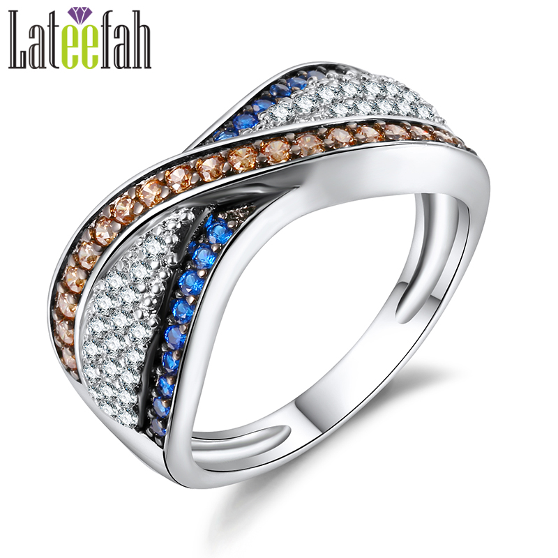 Lateefah Vintage Two Tone Infinity Ring for Women Art Deco Amazing 3 Colors Cubic Zirconia Cross Cocktail Wedding Band Ring Anel