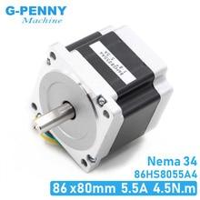 NEMA 34 CNC stepper motor 86x80mm 4.5N.m 5.5A D=14mm Nema34 stepping motor L=80mm 640Oz-in for CNC engraving machine 3D printer!