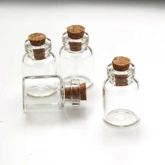 50pc lots small miniature glass bottles with corks glass jar vial