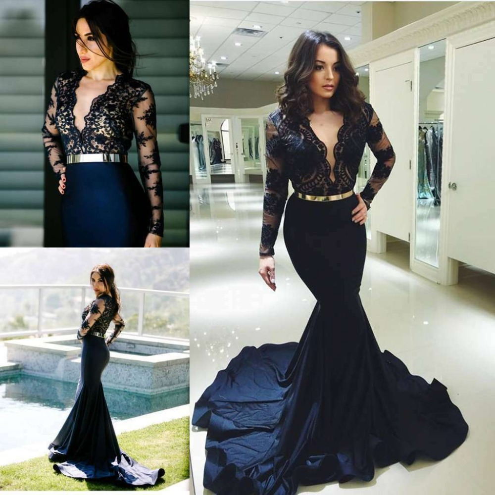 Fashionable Navy Blue   Evening     Dress   Mermaid Long Sleeve Sexy Deep V-neck Women Party Prom Dresess