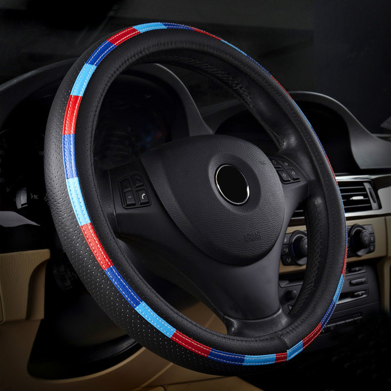 New Car wood Steering Wheel Cover Leather Covers caps 38cm moto styling For BMW E21 E30 E36 E46 E90 E91 E92 E93 F30 X1 X3 X5 X6