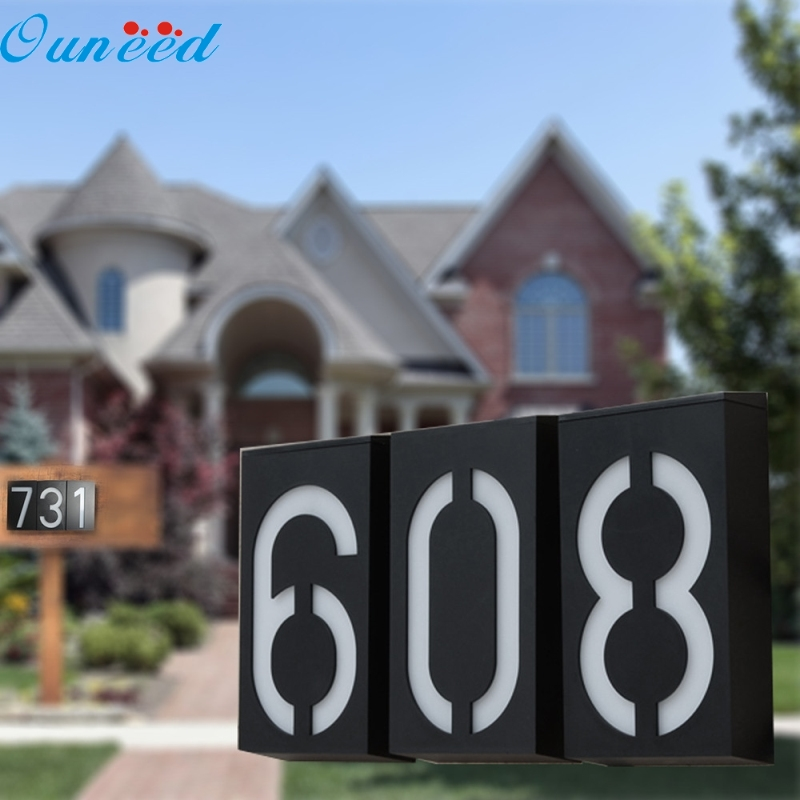 Ouneed Happy Home 1PC Solar Light Solar Power LED Light Sign House Hotel Door Address Plaque Number Digits Plate hotel use outdoor gold metal backlit led house number sign hotel room number signs