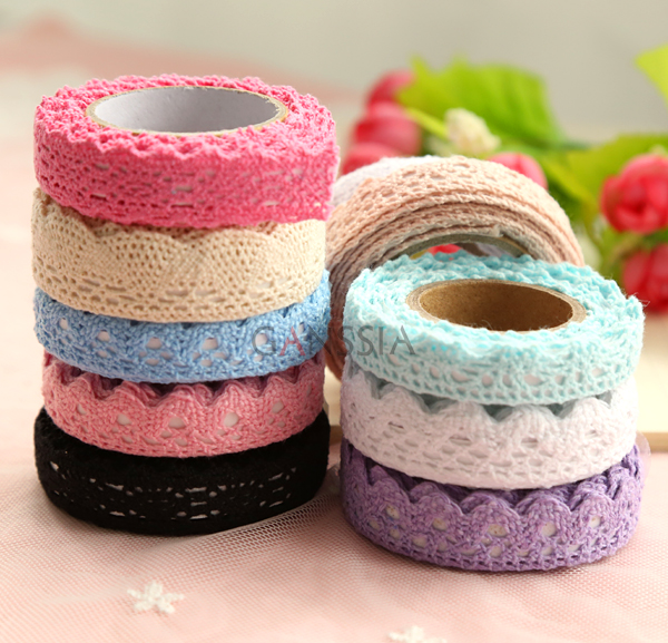2Yards/pc Tapes Adhesive Fabric Cotton Lace Tape For DIY Decoration Stationery Adhesive Tapes Gifts Holiday (ss-1810)