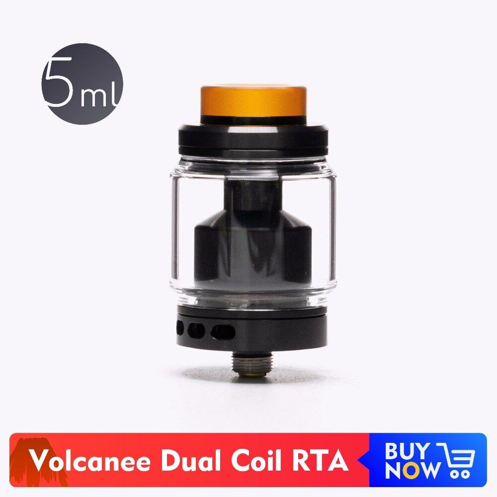 Volcanee Dual Coil Tank Zerstäuber eCigarettes 5 ml Glas Kapazität Einstellbare Airflow Löcher Zerstäuber 810 PEI Drip Tip Vape RTA