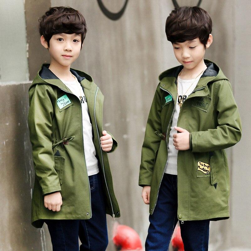 Kids Boys Hooded coat long 2018 spring / autumn baby windbreaker zipper casual big Teenagers children's jacket 3-12Y