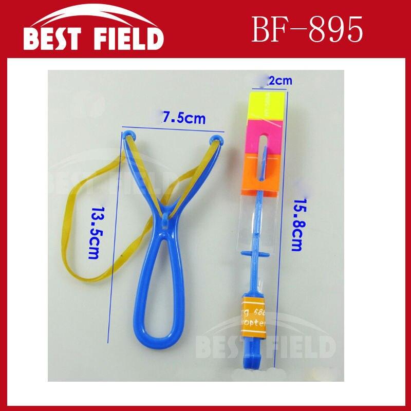 free shipping 200pcs/lot make LOGO blue light Novelty kids LED flying toys led slingshot amazing arrow helicopter party supply