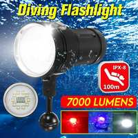 7000 Lm AUGIENB Diving Flashlight Underwater 100m Torch 18650 Rechargeable LED Light Lamp For Diving Photography Video
