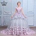 Flor rosa vestido de Baile Vestido de Casamento Vestido de Noiva Robe De Mariage Mariee Princesa Vestidos de Casamento Do Vestido de Casamento 2017 Real Photo