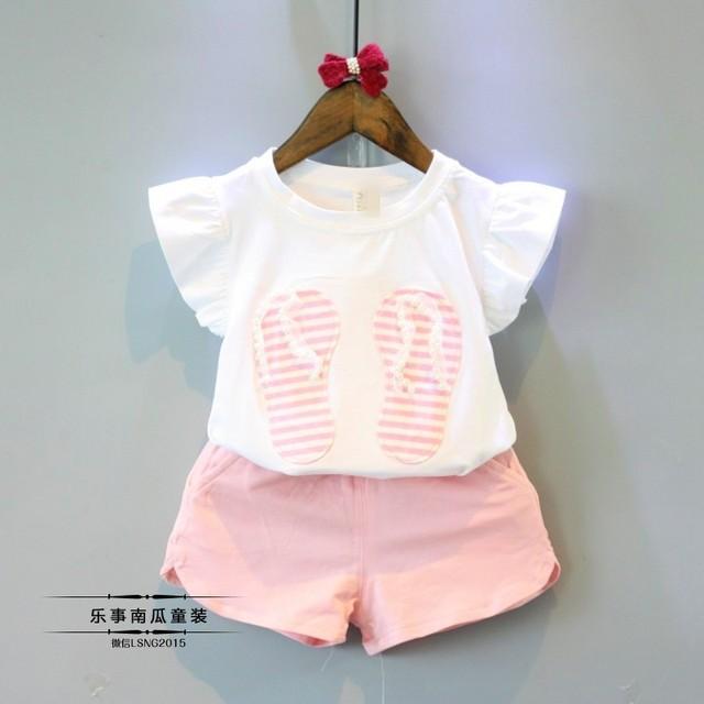 Doce 2016 Verão Meninas Roupas Set Crianças Ternos Top Algodão T Calças camisa + Shorts 2 PCS Baby Girl Roupas 22 W 2-7 anos
