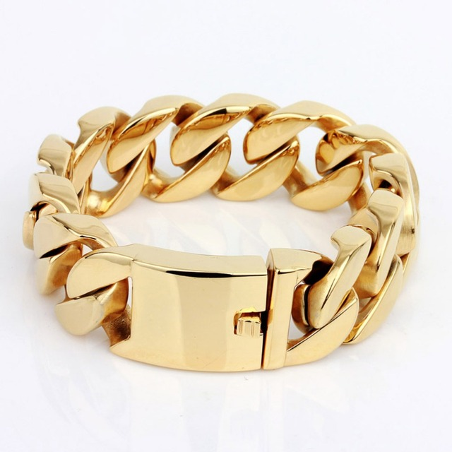 Arabic Gold Bracelet Jewelry 316L Stainless Steel Mens Harley