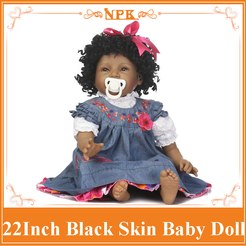 NPK 22 Bebe Reborn Black Doll Soft Silicone Curls Hair Real Alive Baby Menina  Bonecas In Denim Dress Toys For Girls Brinquedo bigbang 2012 bigbang live concert alive tour in seoul release date 2013 01 10 kpop