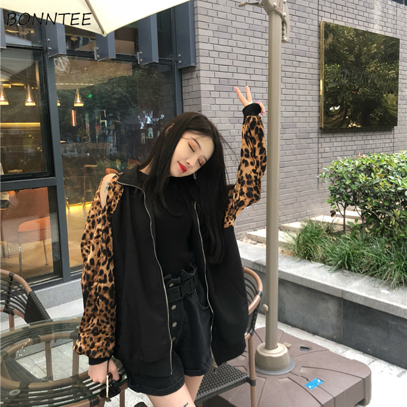 Jackets   Women Elegant Retro All-match Leopard Loose Leisure Zipper Womens Long Sleeve   Basic     Jacket   Korean Style Trendy Daily New