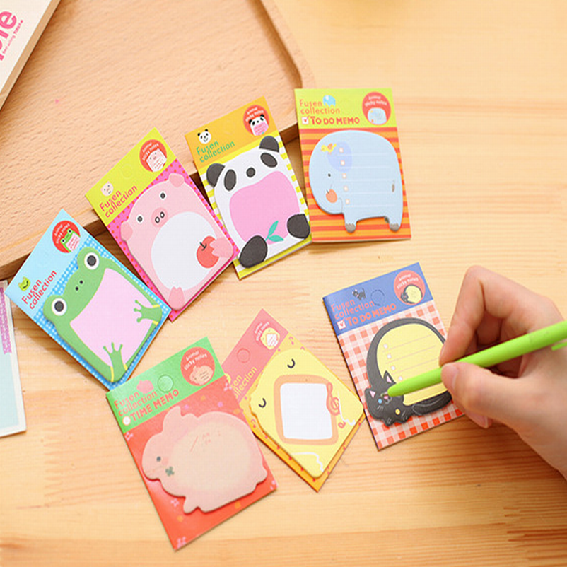 Wholesale 500PC N Times Cute Animal Post It Kawaii Sticky Notes 8Kinds Pattern Memo Pad Korean Stationery Office School Supplies