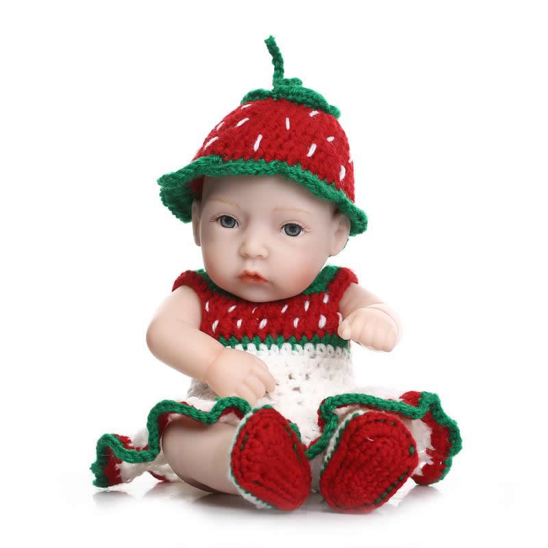 Mini 11 Inches Lovely Baby Doll Reborn Girl Handmade Realistic Lifelike Full Silicone Newborn Babies For Children Holiday Gift doll reborn princess18 inches american girl dolls babies realistic doll cute doll handmade full vinyl gift for children