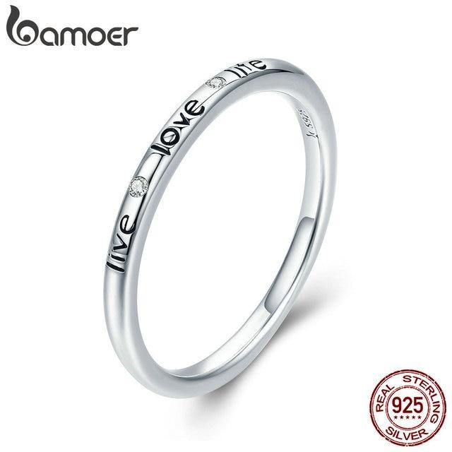 BAMOER 100% Authentic 925 Sterling Silver Live Love Life Letter Engrave Finger R