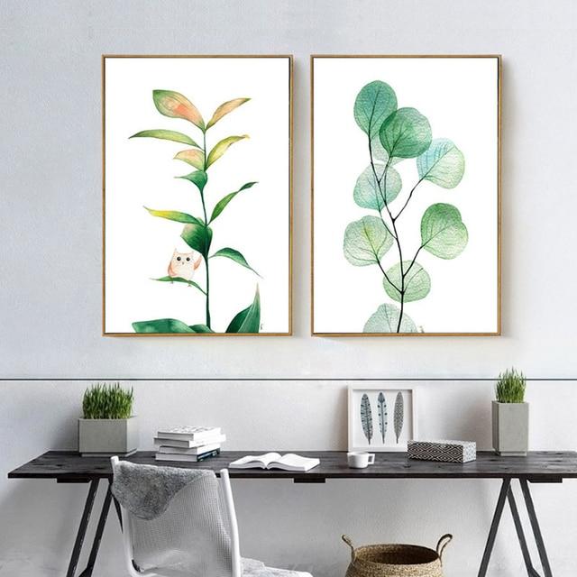 haochu aquarelle tropical feuilles d 39 eucalyptus abstraite toile peinture mur photo pour la. Black Bedroom Furniture Sets. Home Design Ideas