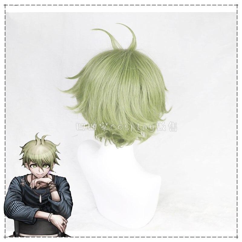 Janpanese Game Danganronpa V3 Rantaro Amami Cosplay Headwear Halloween Carnival Short Green Cosplay Synthetic Hair