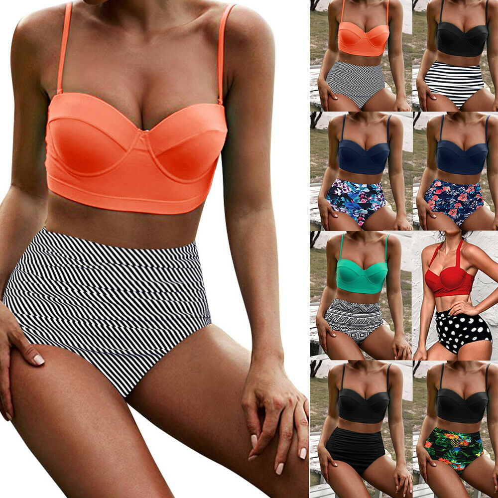 Hot Women's High Waist Bikini Set Stripe Dot Solid Strappy 2Pcs High Waist Swimwear Ladies Beachwear Bathing Suit Swimsuit