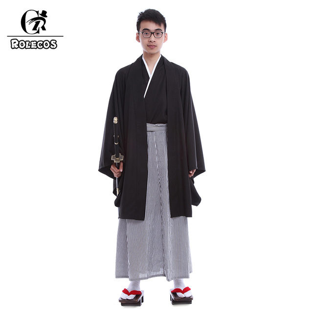 4d7a00246fbc ROLECOS Japonais Hommes Traditionnel de Desserrer Kimonos Avec Facile OBI  Ceinture Yukata Robes Costumes