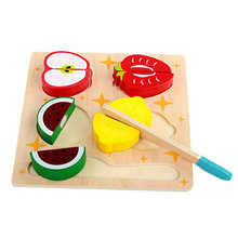 Free shipping Children Kitchen Fruits Set/Fruits Model Building Kits wooden toy kids wood Block Classic Cut fruit game
