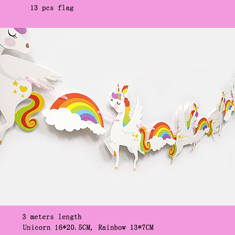 13pcs/lot New Color Unicorn Rainbow Paper Banner Flag Pennant For Weeding Birthday Party Decoration Baby Shows Party Supplies Utmost In Convenience Festive & Party Supplies