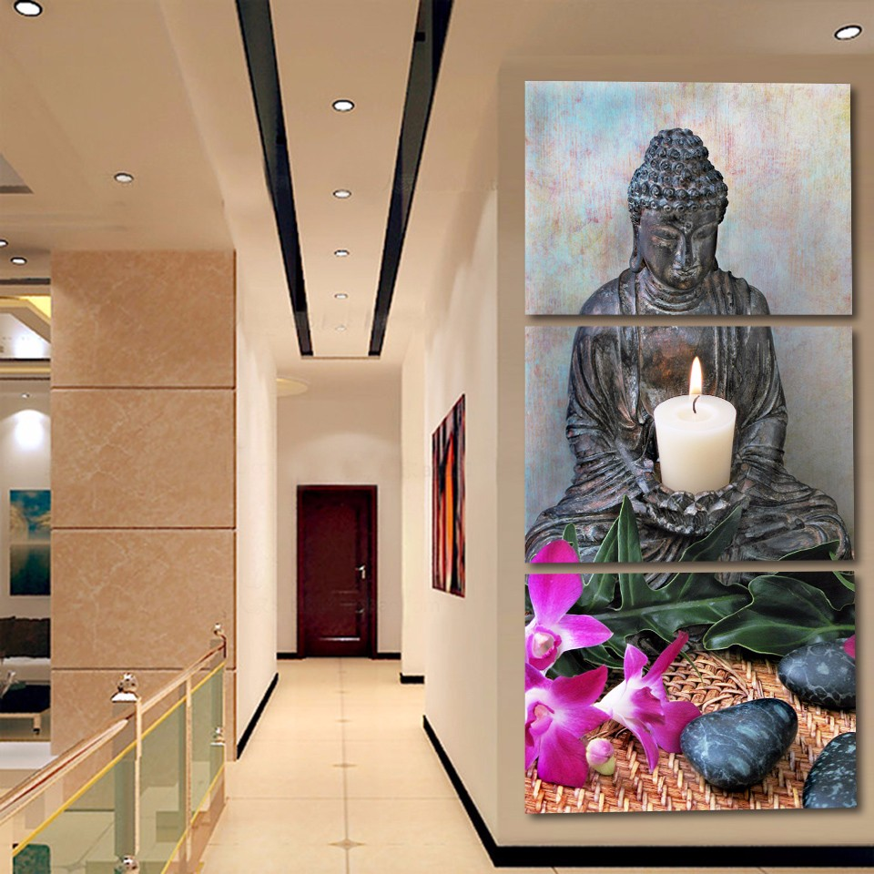 Frame HD printing modern canvas wall art 3 pieces religious Buddha candle flower home decoration living room painting modular