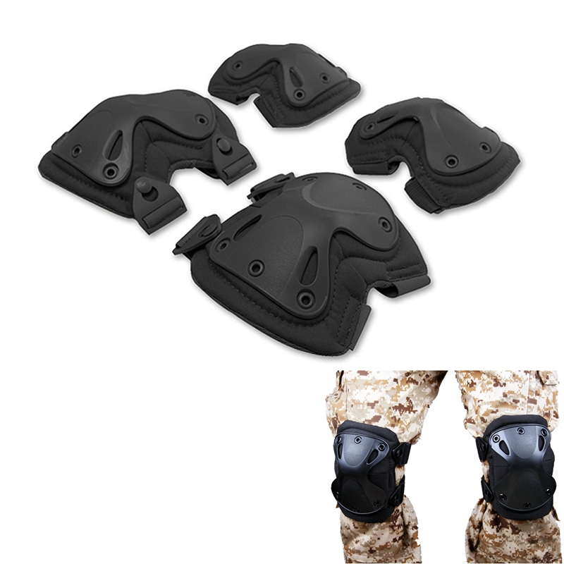 1 Set Tactical Knee Pads Elbow Pads Huntin gAirsoft Paintball Combat Knee Elbow Protector Equipment