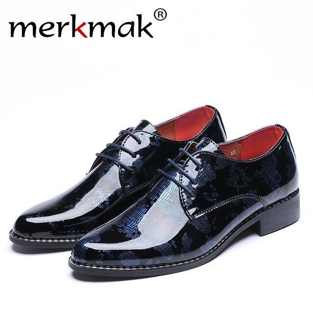 Merkmak Oxfords PU Leder Herren Schuhe Formale Schlange Tarnung Kleid  schuhe Gezeigte Top Lace Up Männer 020d895a14