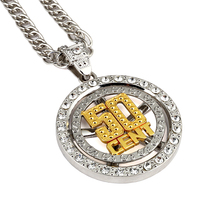 NYUKI Hip Hop Men S Jewelry Spin 50 Cent Pendant Necklace With 80cm Zinc Alloy Fashion