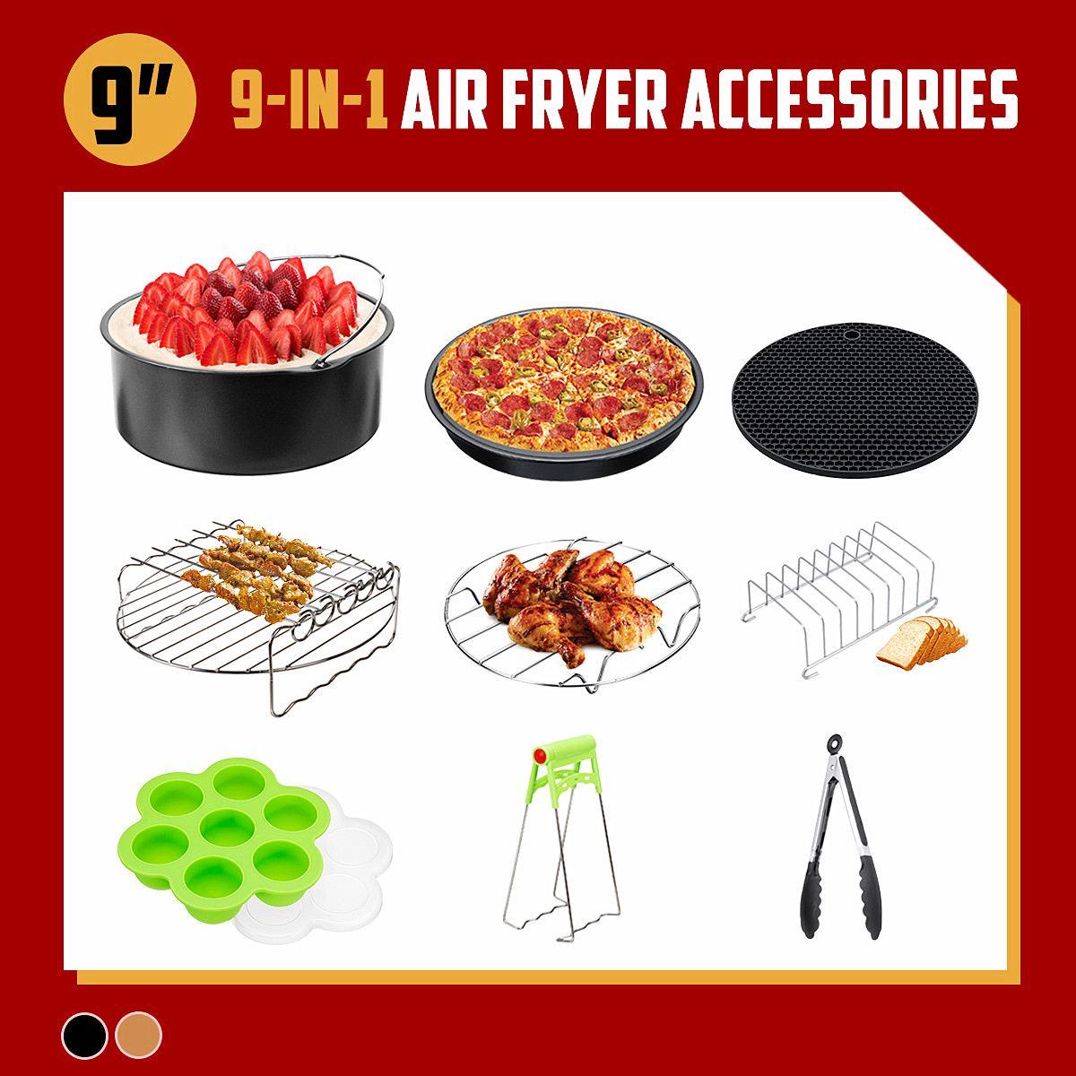 9 pièces set noir/or 9 ''anti-adhésif Barbecue Barbecue, cuisson, outils de cuisson friteuse à Air accessoires pour 5.3-6.8QT friteuse à Air livraison directe
