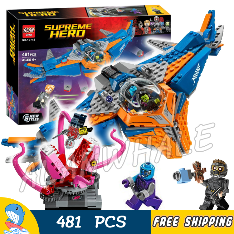 481pcs Super Heroes Guardians of the Galaxy The Milano vs Abilisk 10748 Model Building Blocks Toys Bricks Compatible With lego стоимость