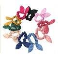 5 Pçs/lote Coelho Bonito Da Menina Do Bebê Flor Headbands Grampo de Cabelo Orelhas de Coelho Dot Headwear Faixa Do Cabelo Elástico de Cabelo Corda