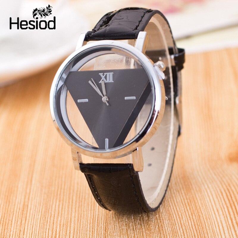 Hesiod New Design Fashion Ladies Watches Elegant Hollow Triangle Watch Fashion Women Thin Leather Strap Quartz
