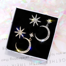 Korean Handmade Silver Needle Anti-allergy Star Moon Asymmetry Rhinestone Drop Dangle Earrings Fashion Jewelry-BYD5