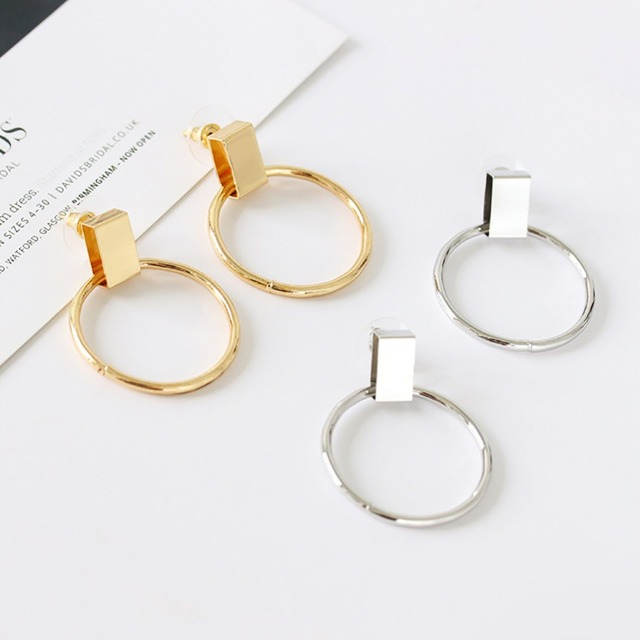 692753f07aea8f Fashion Alloy Round Hoop Earring Women Circle Dangle Ear Stud Frosted Drop  Hoop Gold Sliver Plated Earrings Jewelry #265768