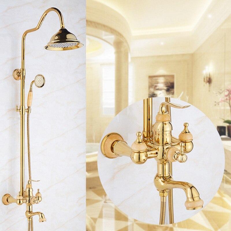 цена на Bathroom Rainfall Gold Shower Set with Single Handle shower set Mixer Tap With Hand Sprayer Wall Mounted Bath bowlder Shower Set