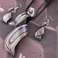 Hot Brown Estilos Twisty Murano Glass Pendant Necklace Earrings Set Para Mujer Pendiente De Cristal de Murano Sets Artesanía Fiesta de Disfraces